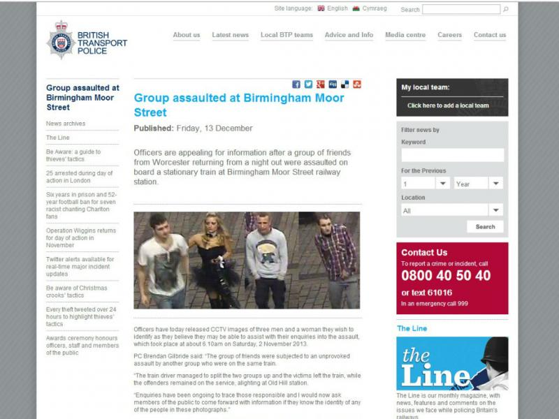 Polícia britânica procura «coelhinha» agressora