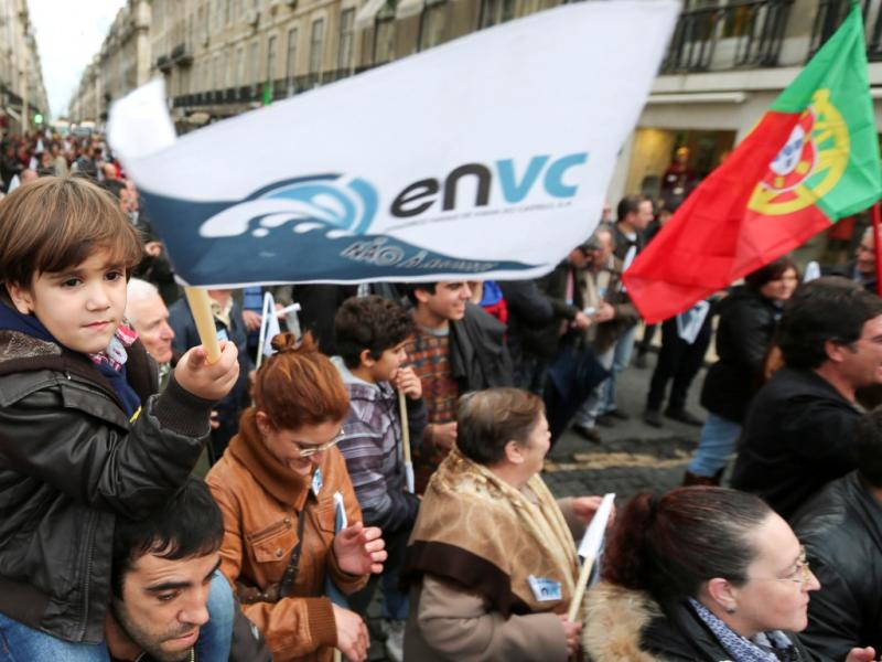 Manifestação dos trabalhadores dos estaleiros em Lisboa [LUSA]