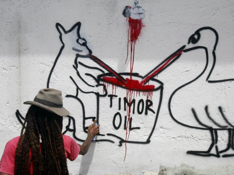 Protesto de timorenses contra ocupação ilegal do mar de Timor pela Austrália (Lusa)