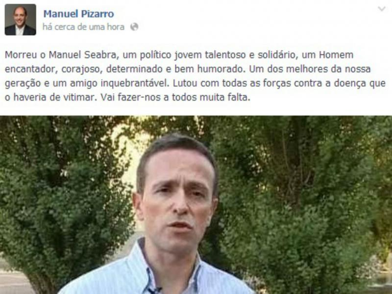 Morreu Manuel Seabra, do PS (Facebook Manuel Pizarro)