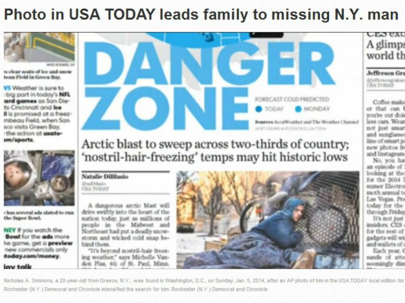 Família descobre filho sem-abrigo nas páginas do jornal USA Today