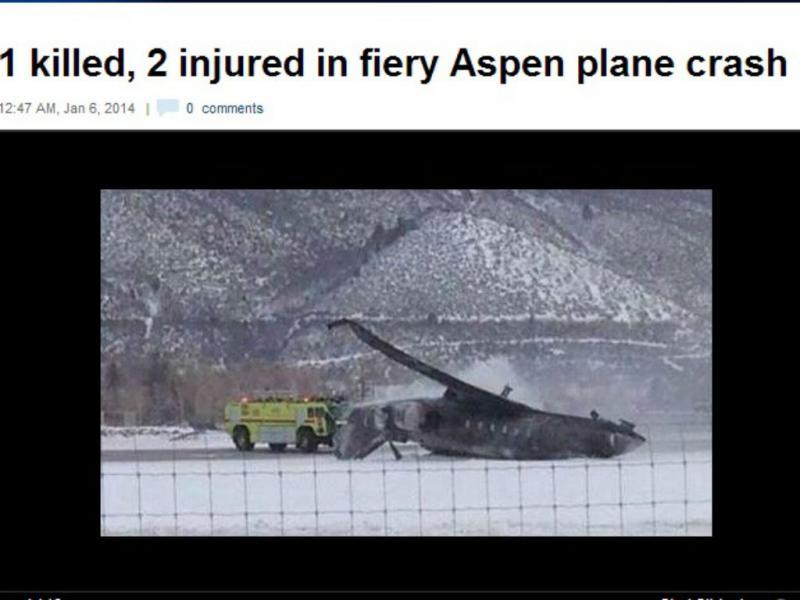 Aeronave despenha-se e mata uma pessoa
