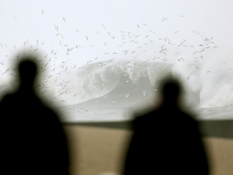 Onda gigante arrasta carros na Foz do Porto (Lusa)