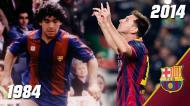 Maradona e Messi, separados por 30 anos (FOTO FCBarcelona.es)