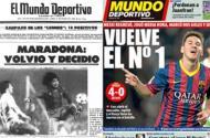 Maradona e Messi, separados por 30 anos (FOTO Mundodeportivo.com)