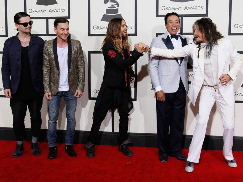 Thirty Seconds To Mars, Smokey Robinson e Steven Tyler na 56ª gala dos Grammy Awards (Reuters)