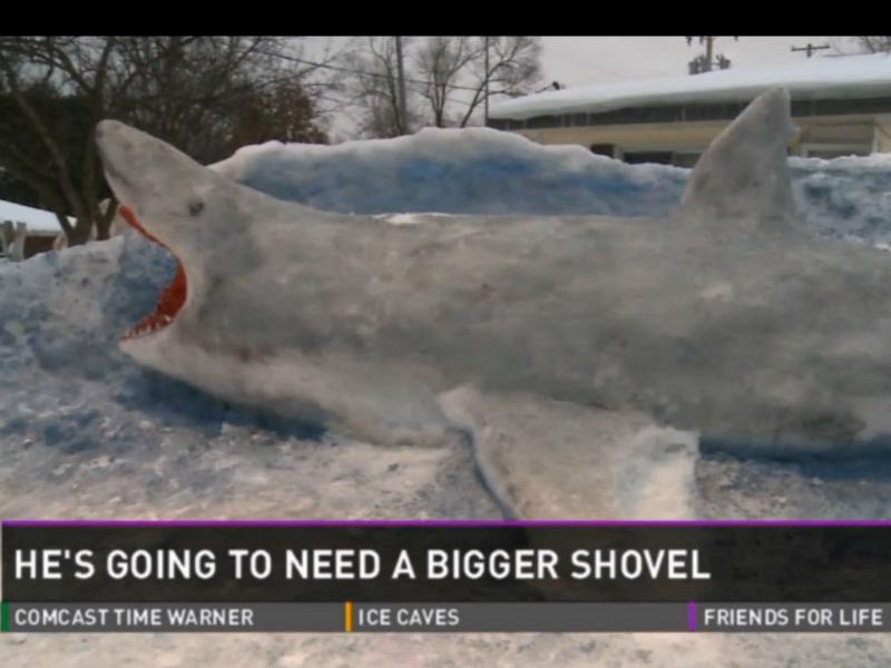 EUA: escultura de tubarão feita de gelo (Reprodução WZZM)