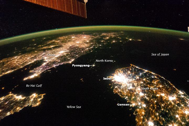 Vista noturna da Ásia mostra diferenças a nível da importância económica