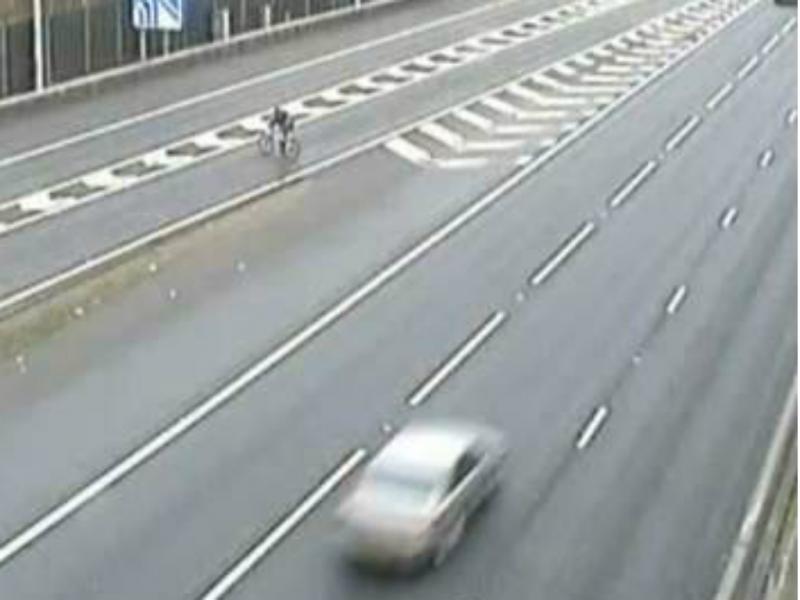 Ciclista circula na autoestrada porque era o caminho mais curto