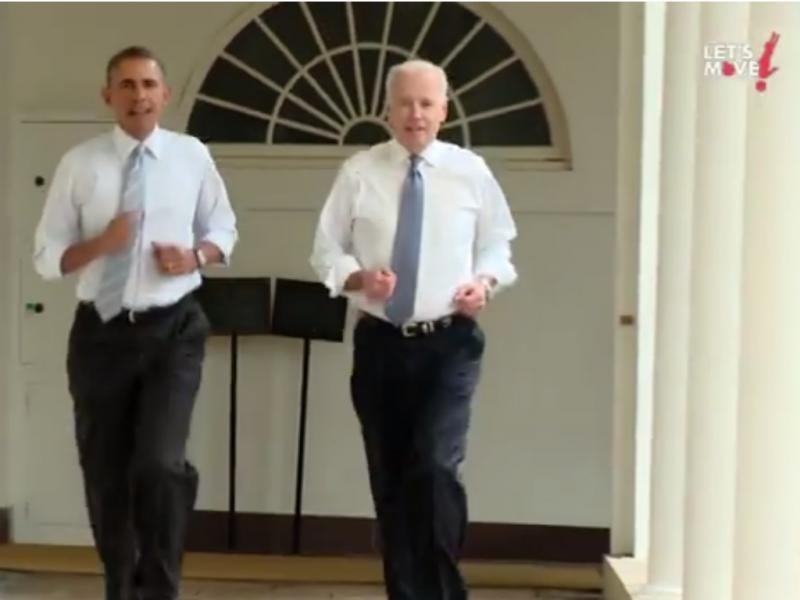 Obama e Bidon correm à volta da Casa Branca