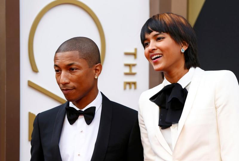 Pharrell WIlliams e Helen Lasichanh  - 86ª Cerimónia de entrega dos Óscares da Academia Foto: Reuters