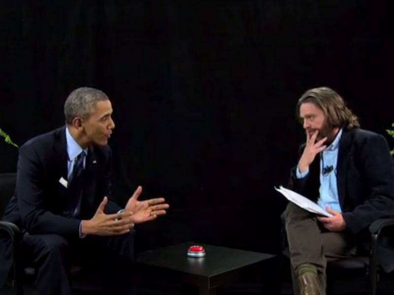 Obama entrevistado por Zach Galifianakis (Reprodução / Funny or Die)