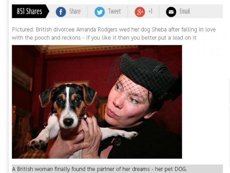 Mulher casa com cadela (Foto reprodução Mirror)