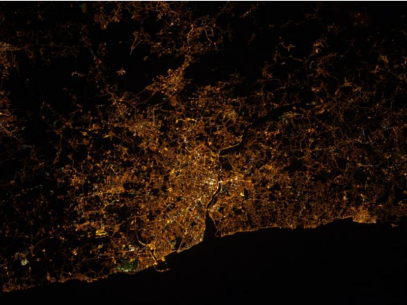 Porto e Vila nova de Gaia vistos dos espaço