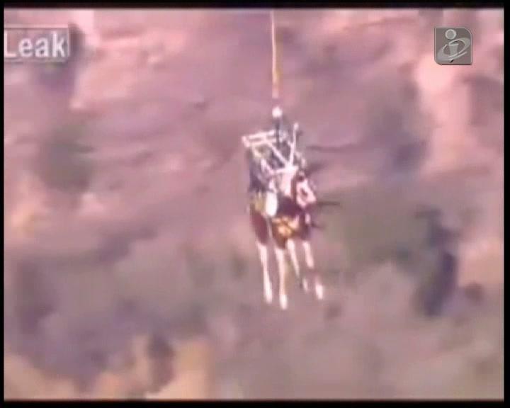 Cavalo salvo por helicóptero depois de cair numa ravina