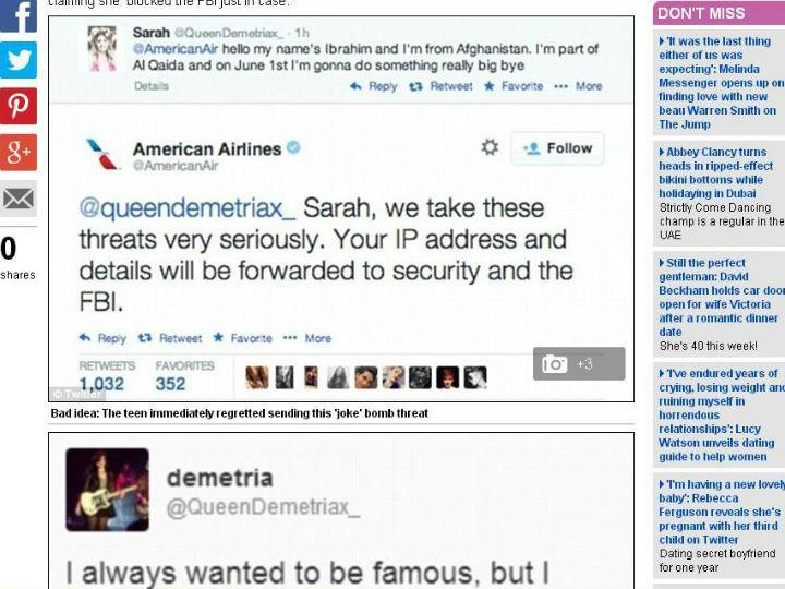 Adolescente dá-se mal com ameaça de bomba através do Twitter (Reprodução Daily Mail)