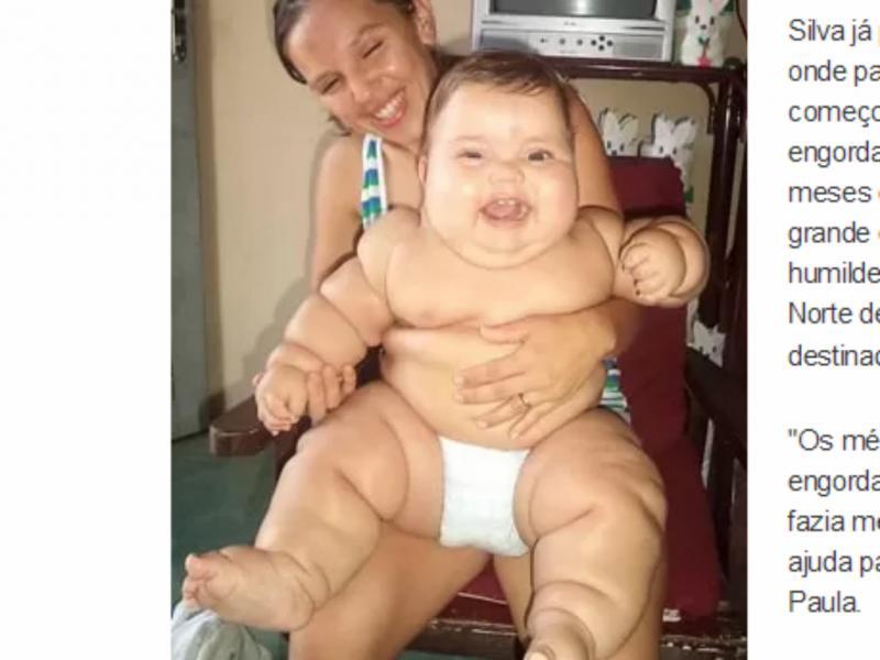 Bebé de 8 meses tem 18 quilos (Reprodução / G1)