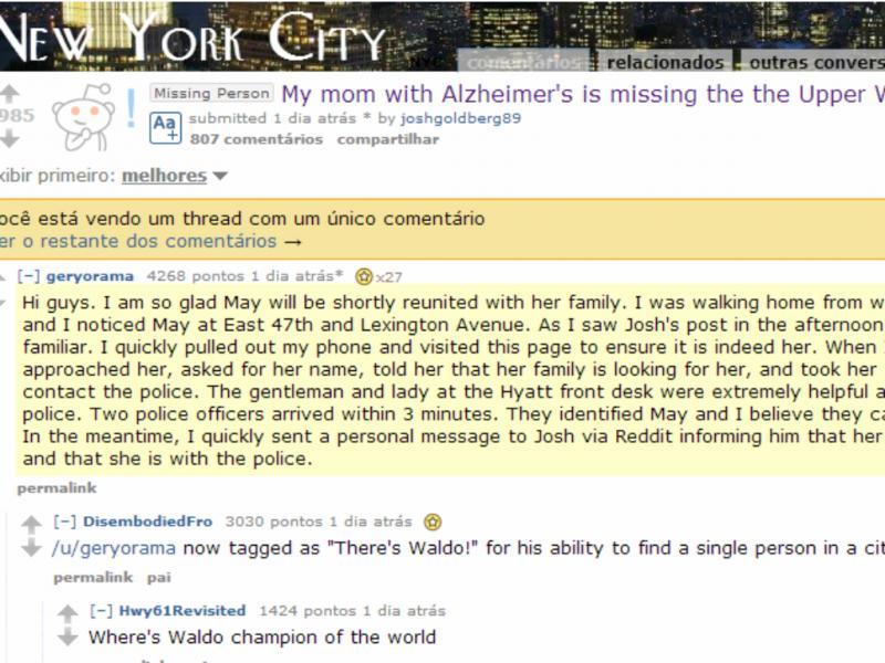 Reddit ajudou a reunir mãe e filho