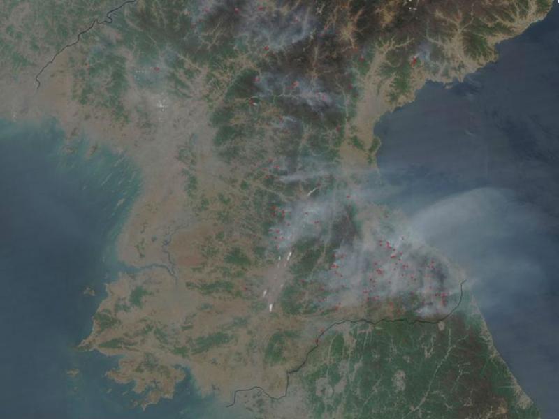 Incêndios na Coreia do Norte vistos pela NASA (NASA)