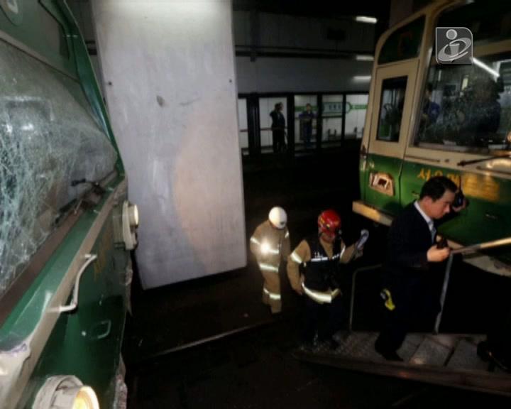 172 feridos em choque de duas composições do metro de Seoul