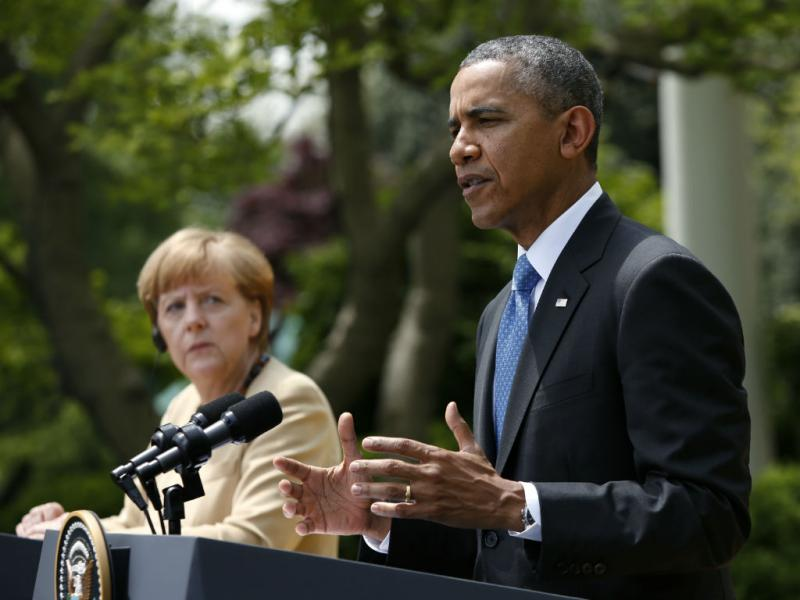 Obama e Merkel na Casa Branca (REUTERS/Larry Downing)