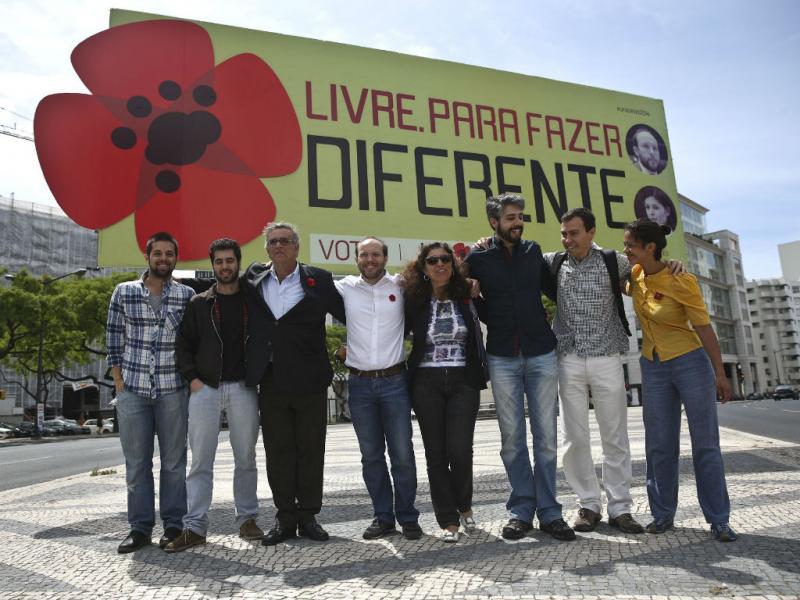 Inauguração do único outdoor do LIVRE, na Praça do Saldanha, em Lisboa (ANDRE KOSTERS/LUSA)