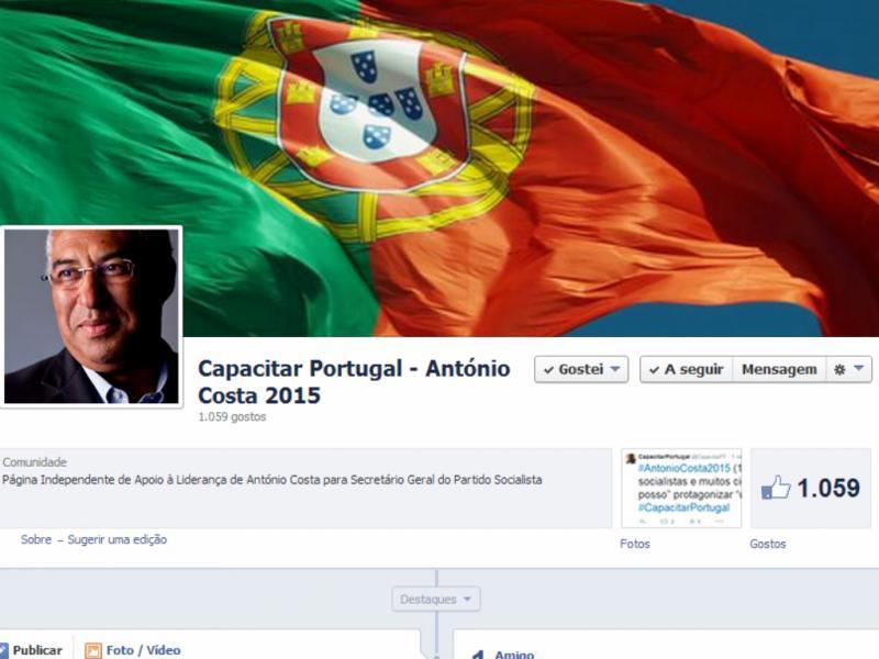 Página de apoio a António Costa