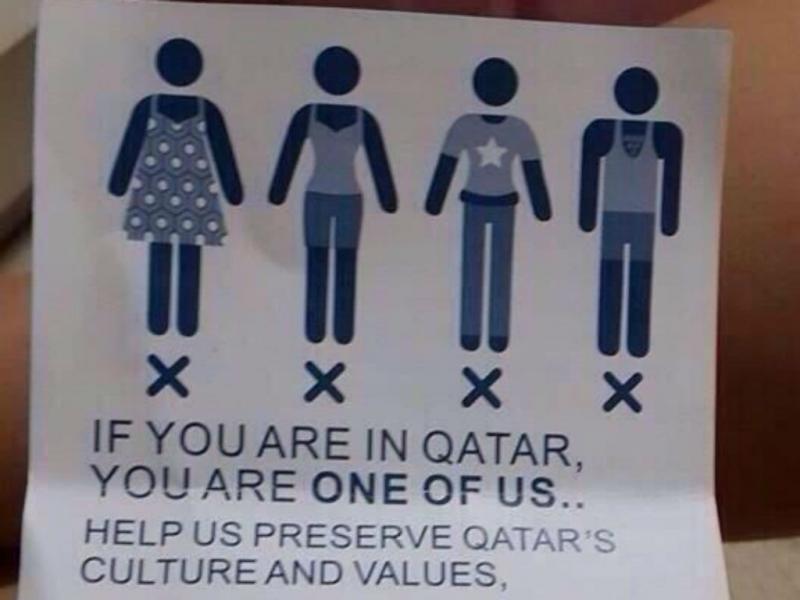 Panfleto do Qatar sobre código de vestuário (Reprodução Twitter)