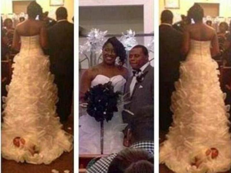 Noiva transporta filha recém-nascida na cauda do vestido até ao altar (Facebook)