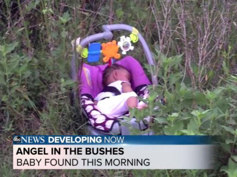 Bebé levada em carro roubado foi deixada entre arbustos (Reprodução ABC)