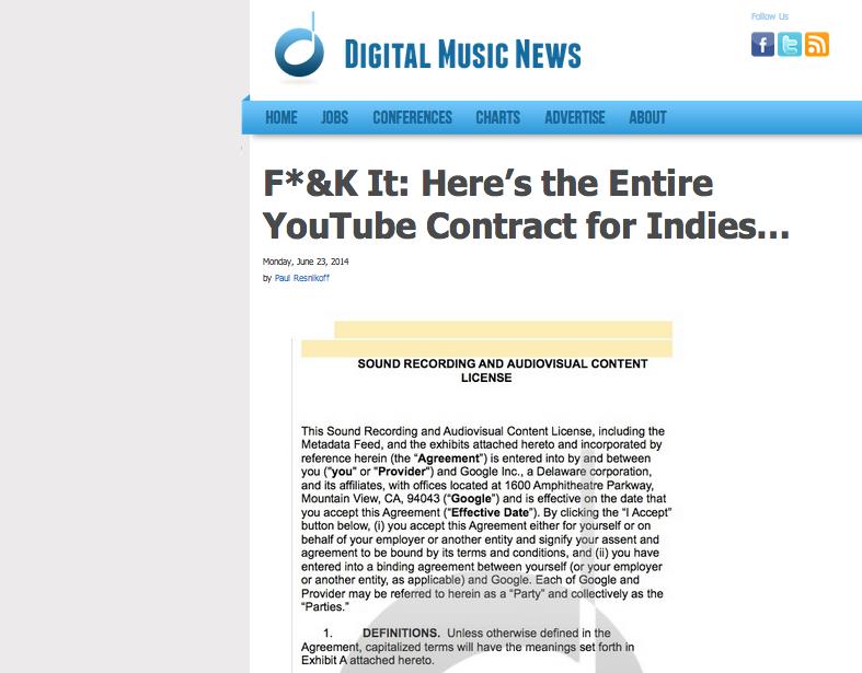 O contrato que deu mote à guerra entre o Youtube e as editoras de música independente foi publicado online