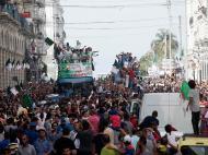 Seleção da Argélia foi recebida em festa na capital (Reuters)