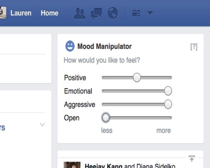 A aplicação «Facebook Mood Manipulator» permite controlar o teor das mensagens que aparecem no feed