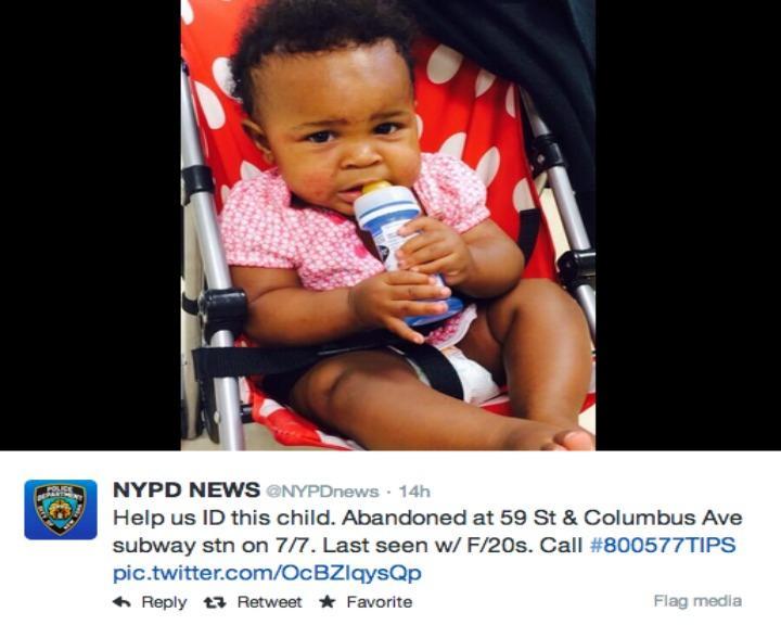 Polícia acredita que a mulher detida é a mãe da criança abandonada no metro de Nova Iorque (Fotografia: Twitter)