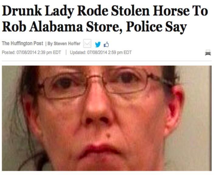 Mulher alcoolizada roubou um cavalo e foi detida pela polícia