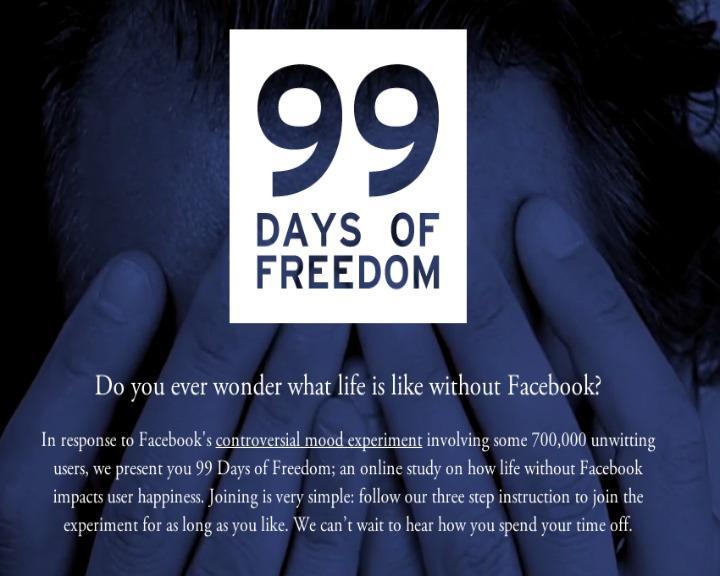Projeto quer que as pessoas deixem o Facebook por 99 dias