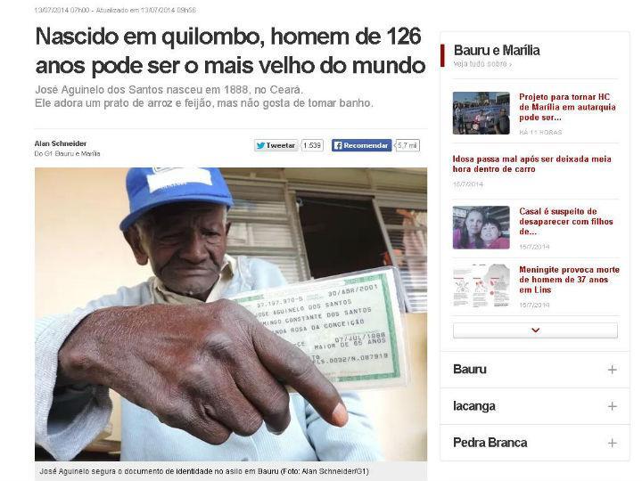 Jose Aguinelo dos Santos é brasileiro e fez 126 anos de idade dia 7 de julho (Imagem do site brasileiro «G1»)