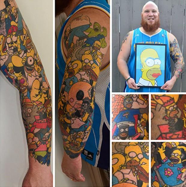 Recorde do maior número de tatuagens da personagem Homer Simpson