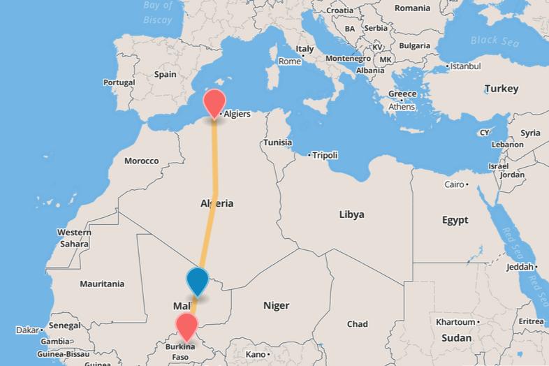 O avião voava de Ouagadougou, no Burkina Faso, para Argel, a capital da Argélia