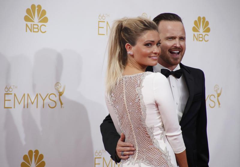 Aaron Paul e Lauren Parsekian - 66º Primetime Emmy Awards em Los Angeles Foto: Reuters