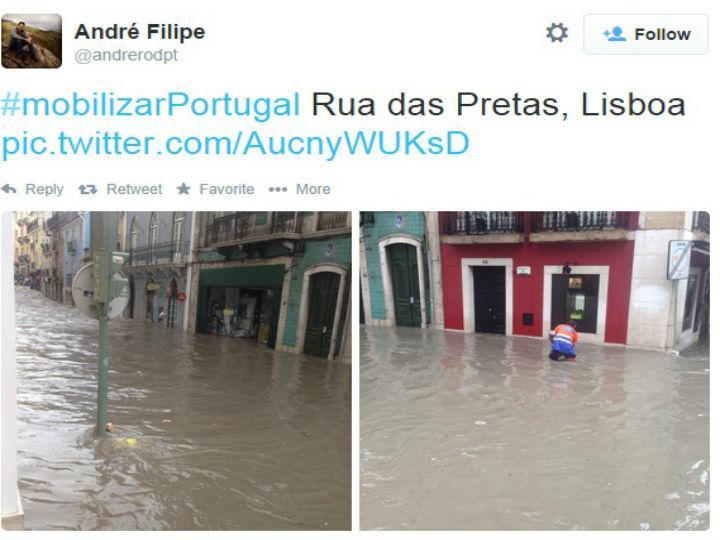 Imagens do mau tempo em Lisboa, nas redes sociais (Twitter)