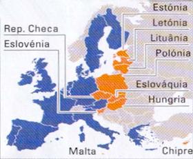 Novo mapa da UE, com 25 Estados