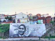 Mural sobre Eusébio na Cova da Moura