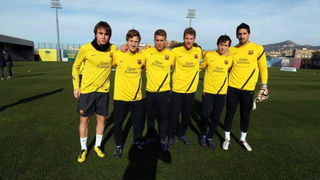 Ivan Balliu e Oriol Rusell no Barcelona B