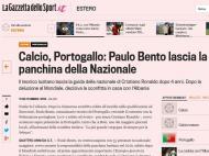 Saída de Paulo Bento: «Gazzetta dello Sport» (Itália)