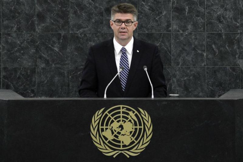 Bragi Sveinsson, ministro islandês dos Negócios Estrangeiros e do Comércio Externo, na Assembleia Geral da ONU (Reuters)