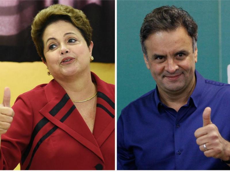 Dilma Roussef e Aécio Neves na segunda volta das eleições brasileiras (REuters)