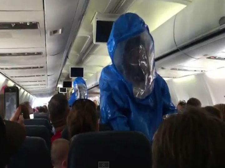 Passageiro de voo da US Airways fez piada sobre o ébola e obrigou à atuação das autoridades (YouTube)