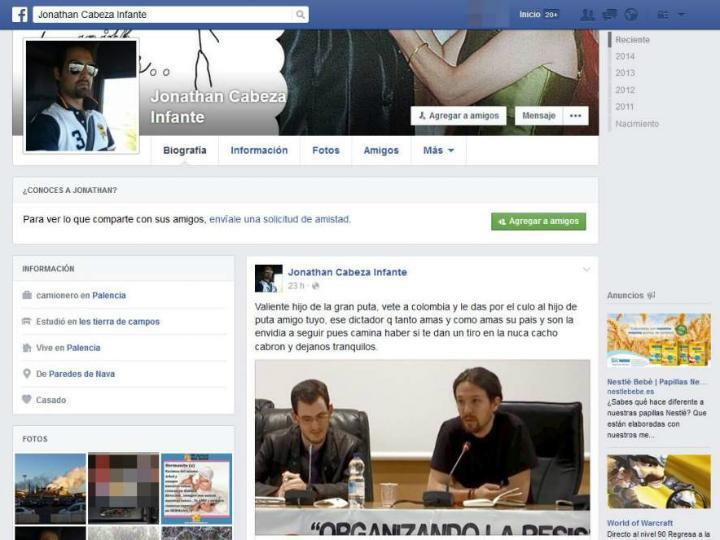Post no Facebook do vereador do  PP, espanhol Jonathan Cabeza Infante