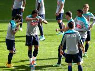 Vieirinha, Bruno Alves, Adrien, Nani, Hélder Postiga, João Moutinho no treino (LUSA)